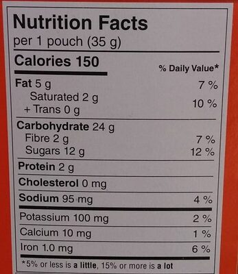 Bear Paws Minis Soft Bite-Sized Oatmeal Chocolate Chip Cookies - Nutrition facts