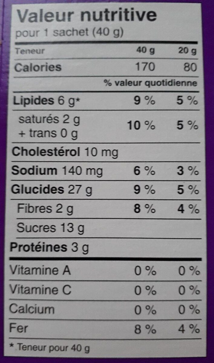 Bear Paws chocolate chip - Informations nutritionnelles - en