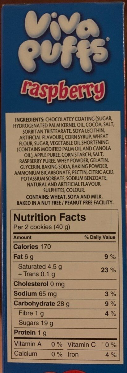 Viva puffs raspberry chocolatey covered marshmallow - Nutrition facts - en