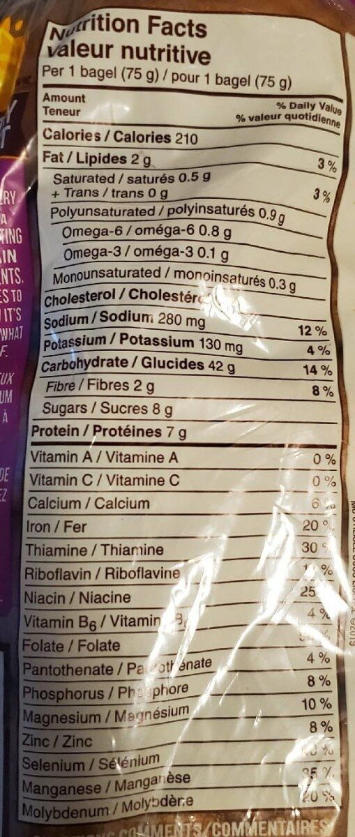 Cinnamon Raisin Bagels - Nutrition facts - fr