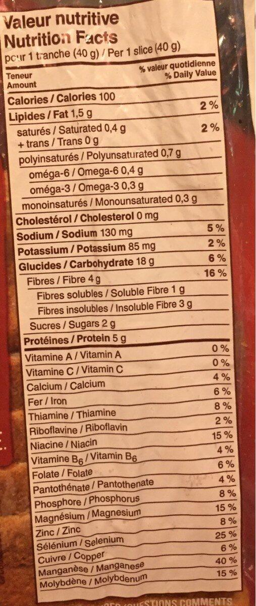 Blé moulu a la meule roti et malté - Nutrition facts - fr
