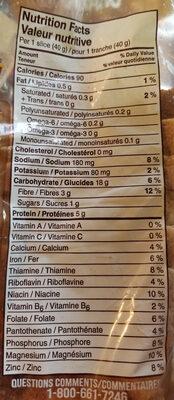 Pain blé entier - Nutrition facts - en
