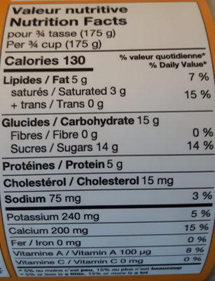 Yogourt Érable - Informations nutritionnelles - en