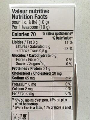 Beurre barraté - Informations nutritionnelles - fr