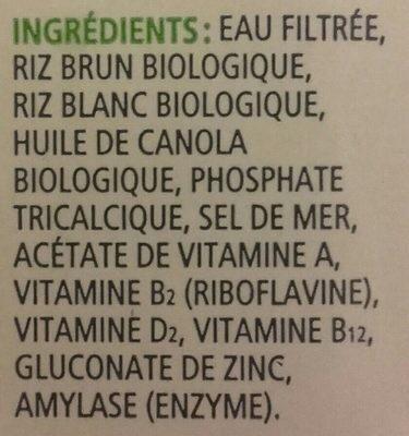 Boisson De Riz Biologique Enrichie Original - Ingrédients - fr