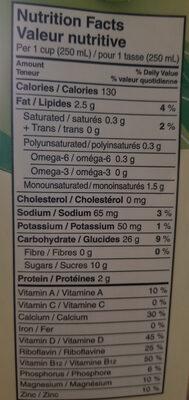 Boisson De Riz Biologique Enrichie Original - Informations nutritionnelles - fr