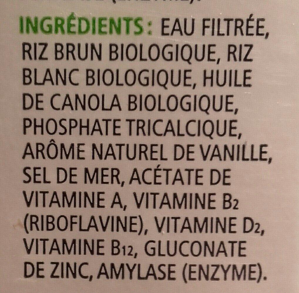 Boisson De Riz Biologique Enrichie Vanille - Ingrédients - fr