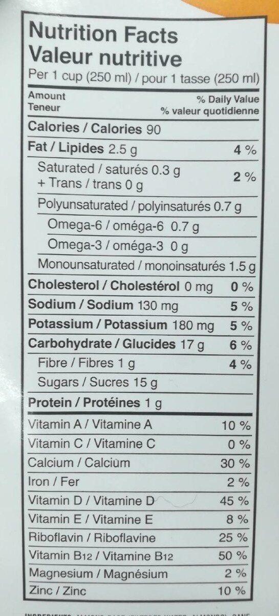 Boisson aux amandes - Informations nutritionnelles - fr
