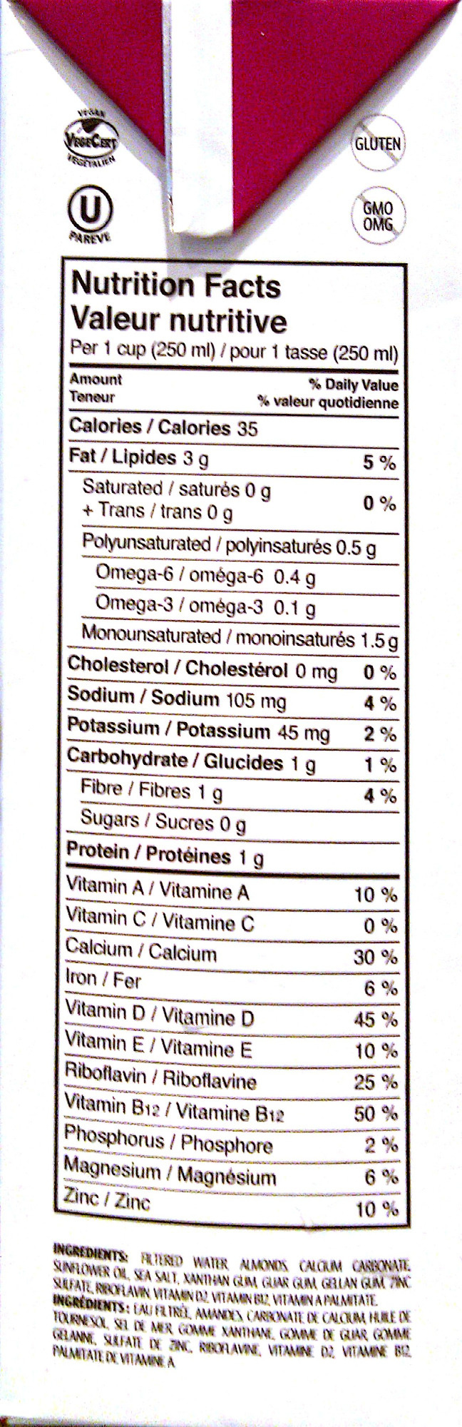 Fortified Almond Beverage - Nutrition facts - en