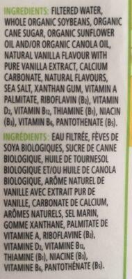 Boisson De Soya Biologique (vanille) - Ingredients - fr