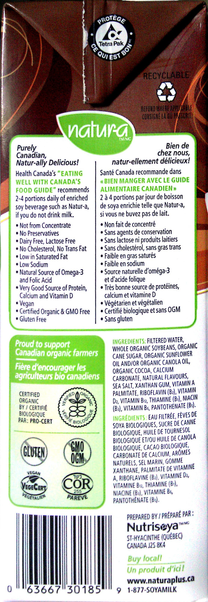 Organic Fortified Soy Beverage - Chocolate - Ingrédients