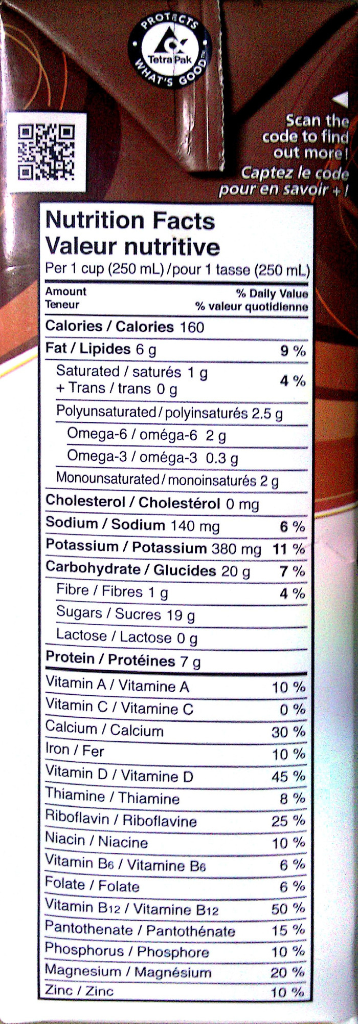 Organic Fortified Soy Beverage - Chocolate - Informations nutritionnelles