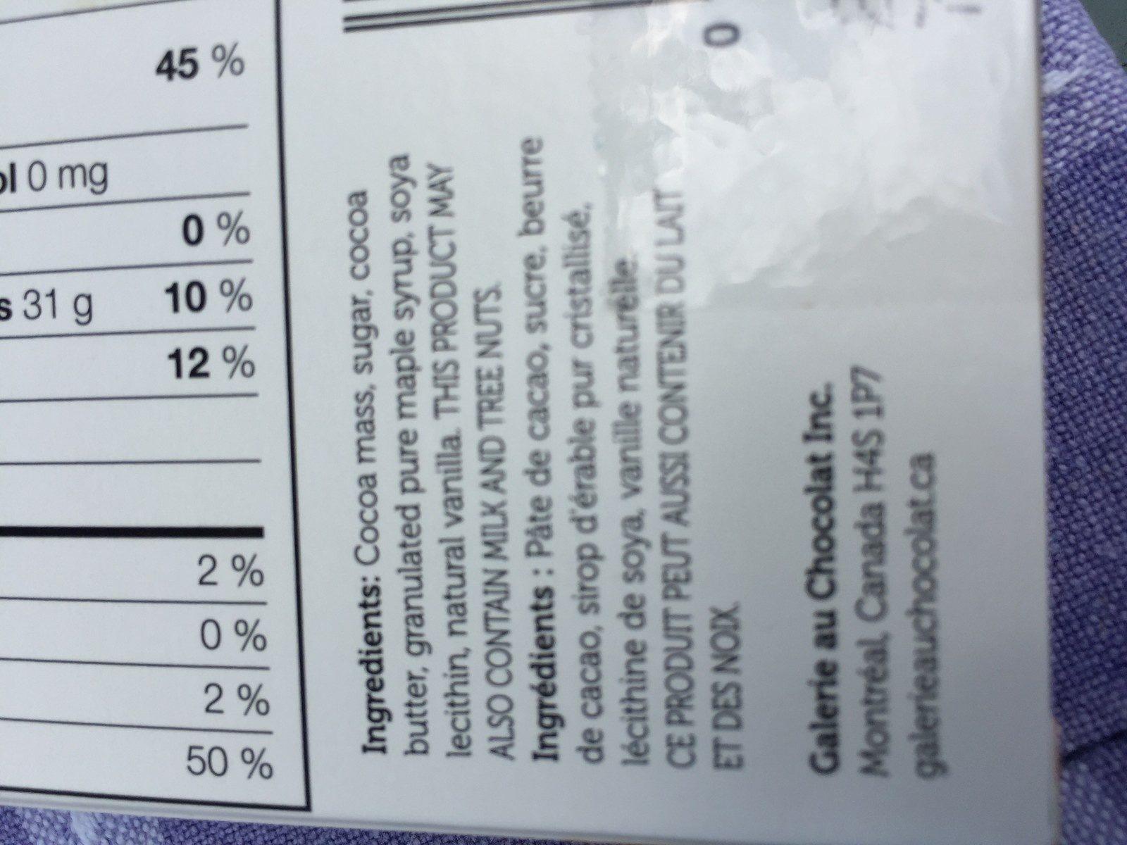 Chocolat noir 72% truffé de pépites de sirop d'érable - Ingrédients - fr