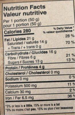 Chocolat - Nutrition facts - en