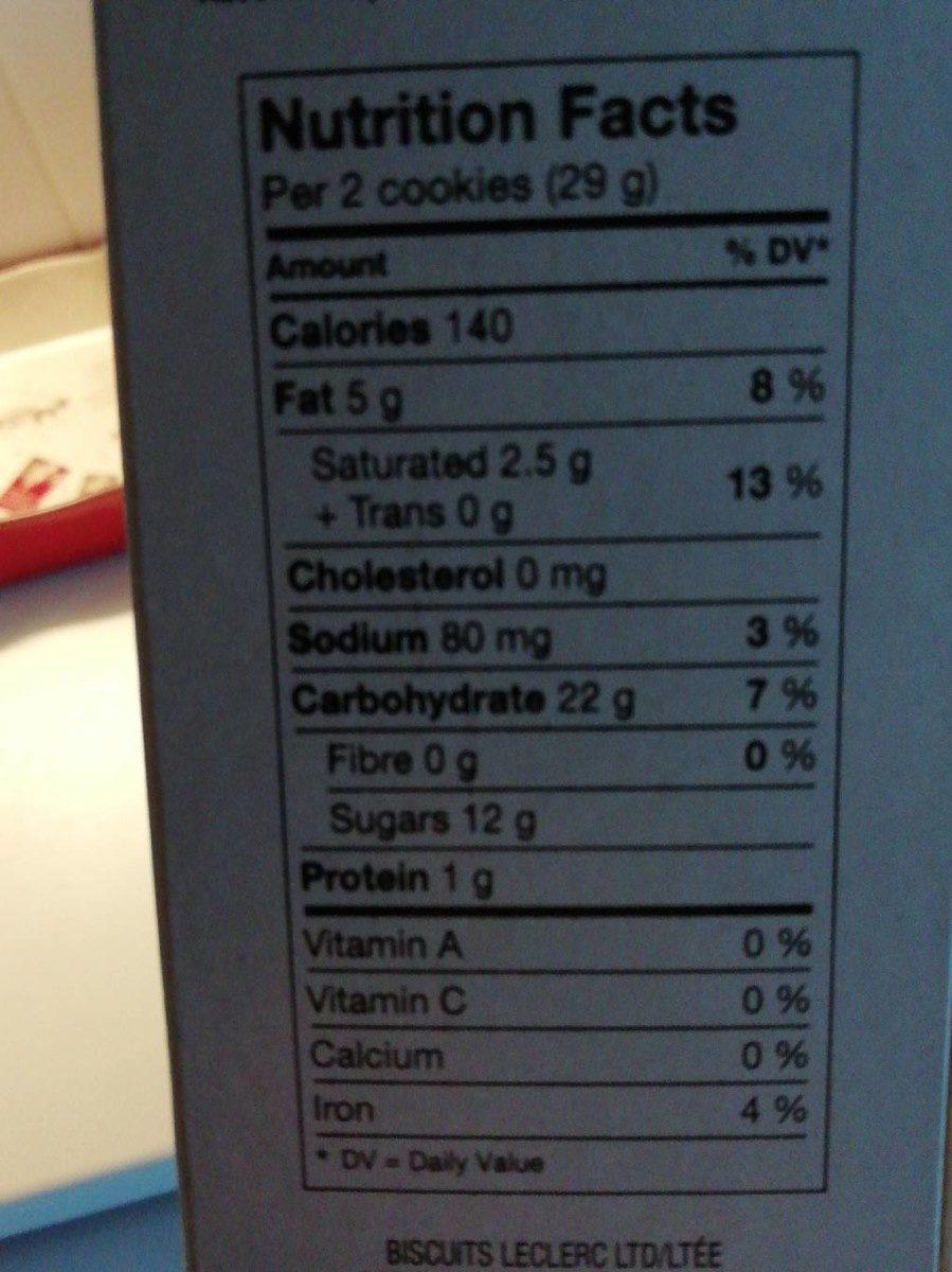 Biscuits Crème Feuille D'érable - Voedingswaarden - fr