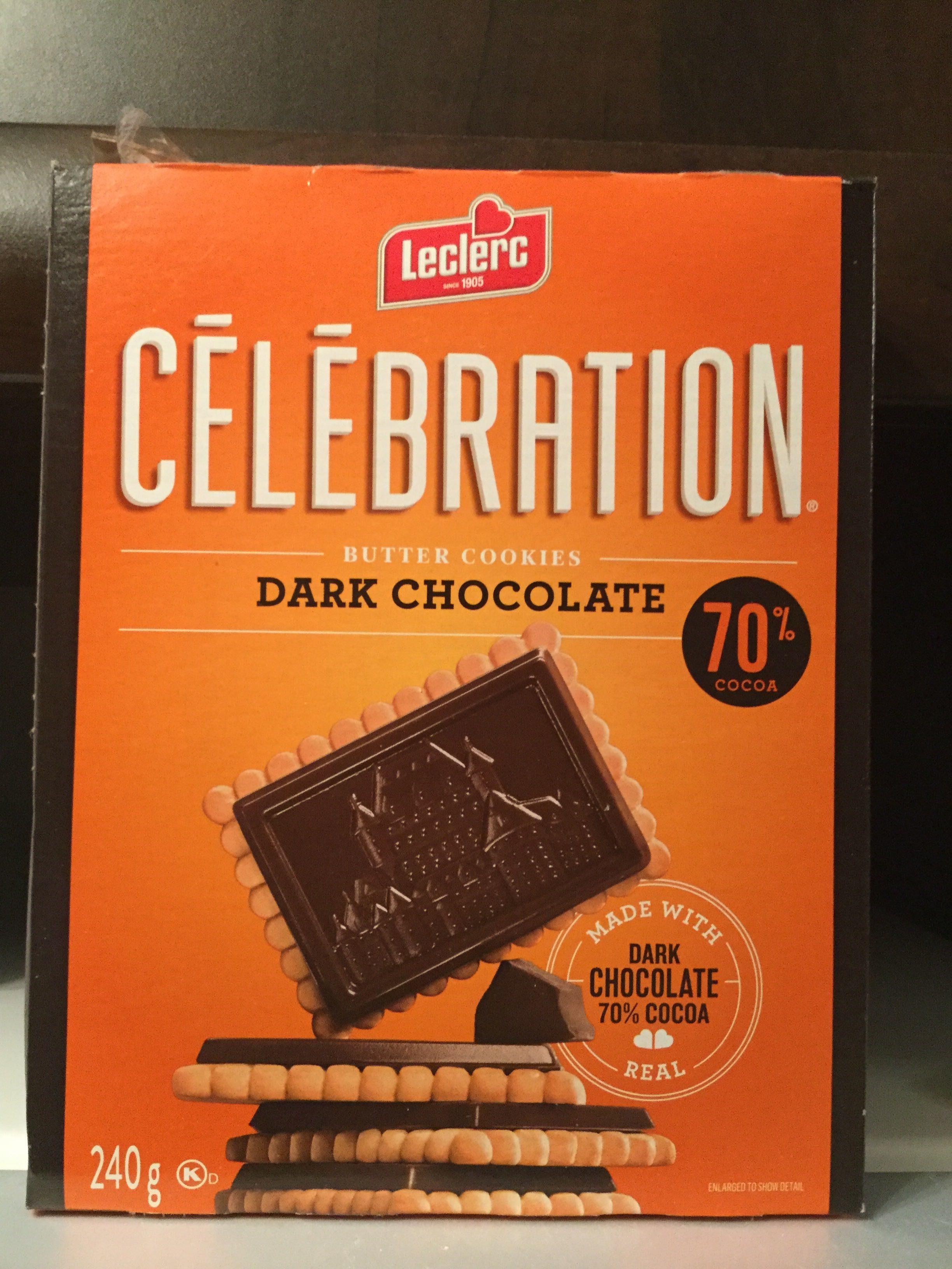 Leclerc Celebration Biscuits Au Beurre Chocolat Noir 70% Cacao - Product - en