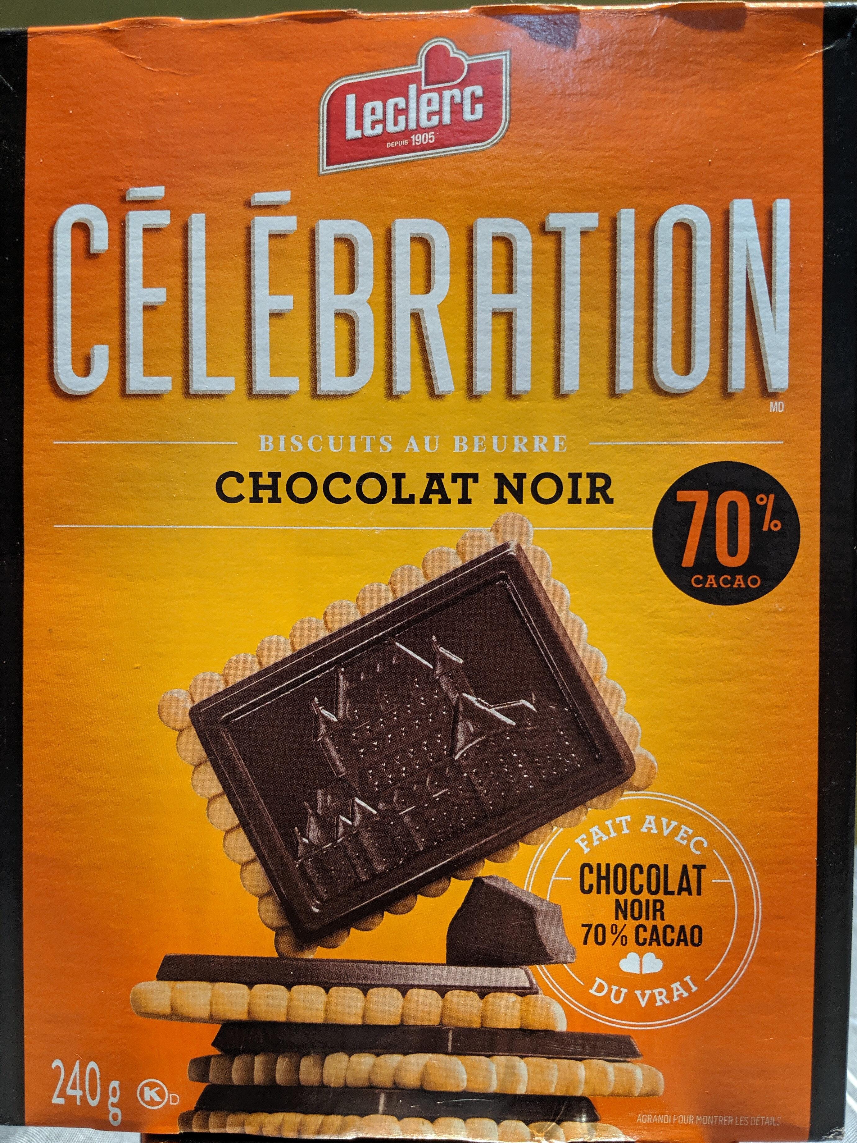 Leclerc Celebration Biscuits Au Beurre Chocolat Noir 70% Cacao - Produit - fr