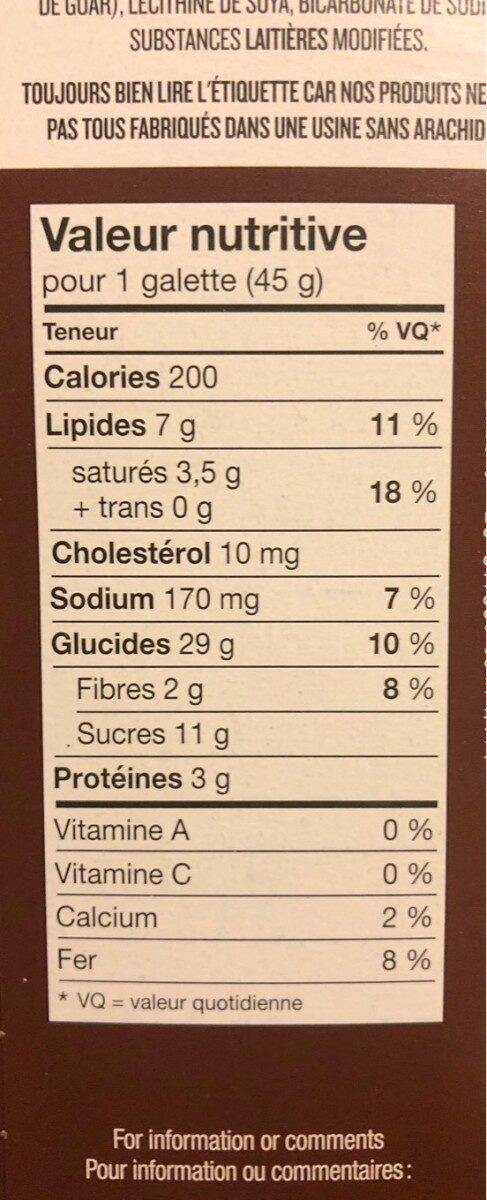 Biscuit leclerc - Informations nutritionnelles - fr