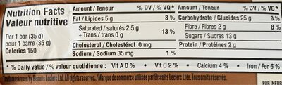 Barre tendre triple chocolat - Nutrition facts - fr