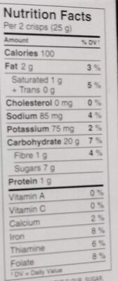 Barres croquantes sqveur biscuits et crème - Voedingswaarden