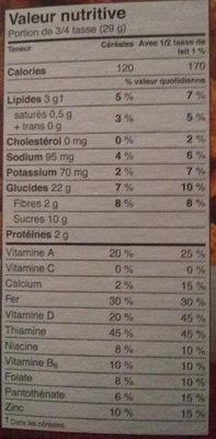 Krave Céréale Chocolat Familial - Informations nutritionnelles