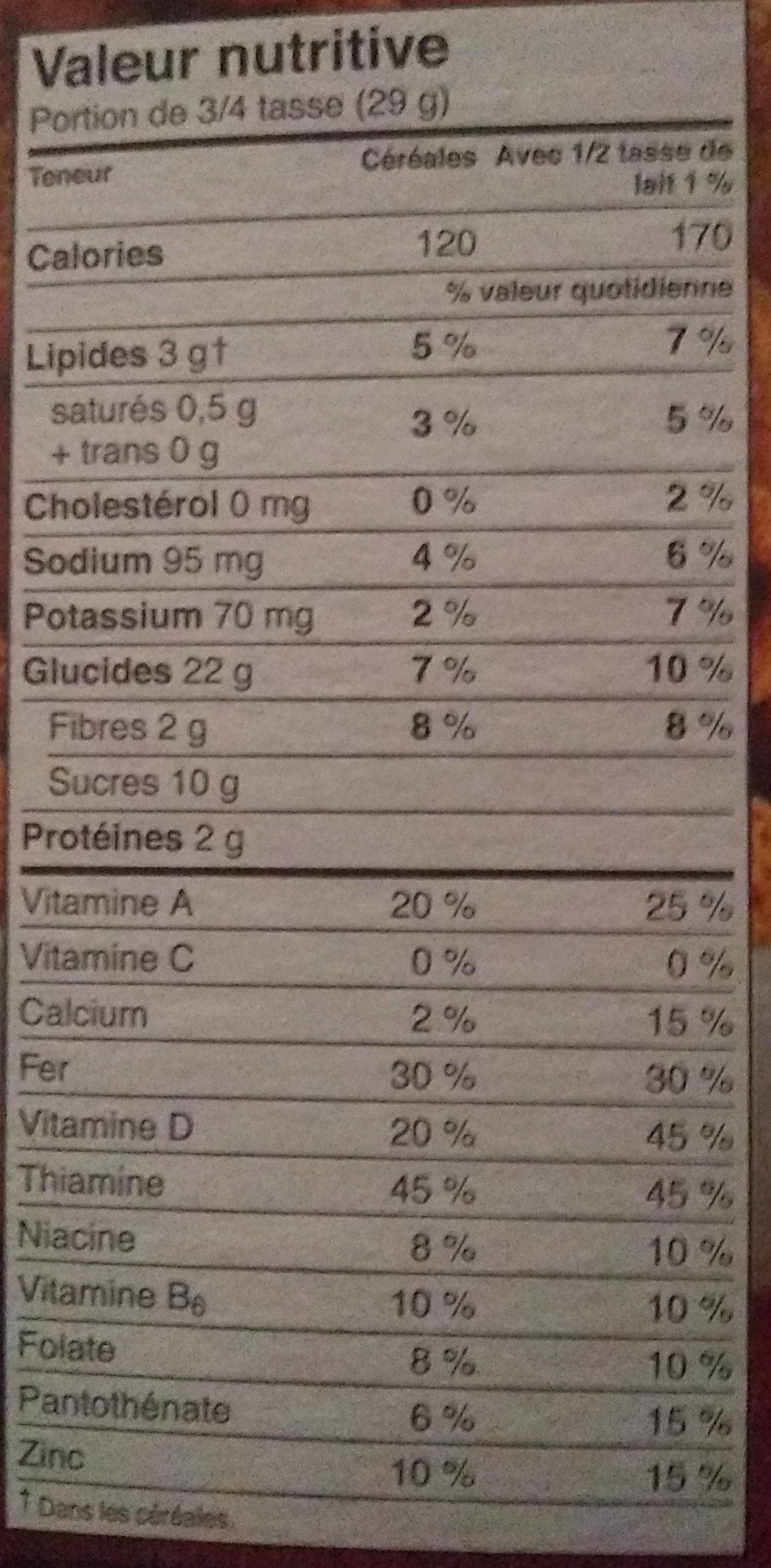 Krave Céréale Chocolat Familial - Informations nutritionnelles - fr