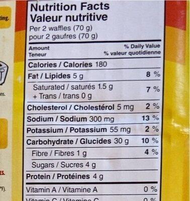 Original eggo waffles - Voedingswaarden - fr