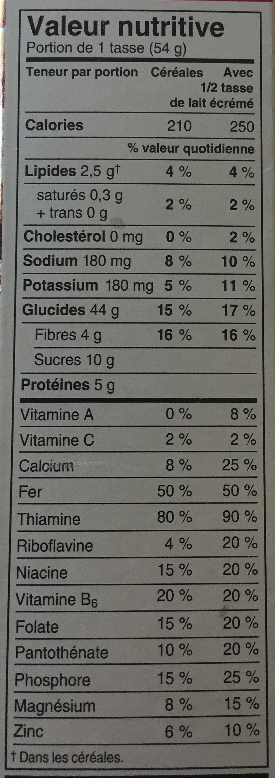 Céréales Pomme Framboise Et Amandes Special K - Nutrition facts - fr