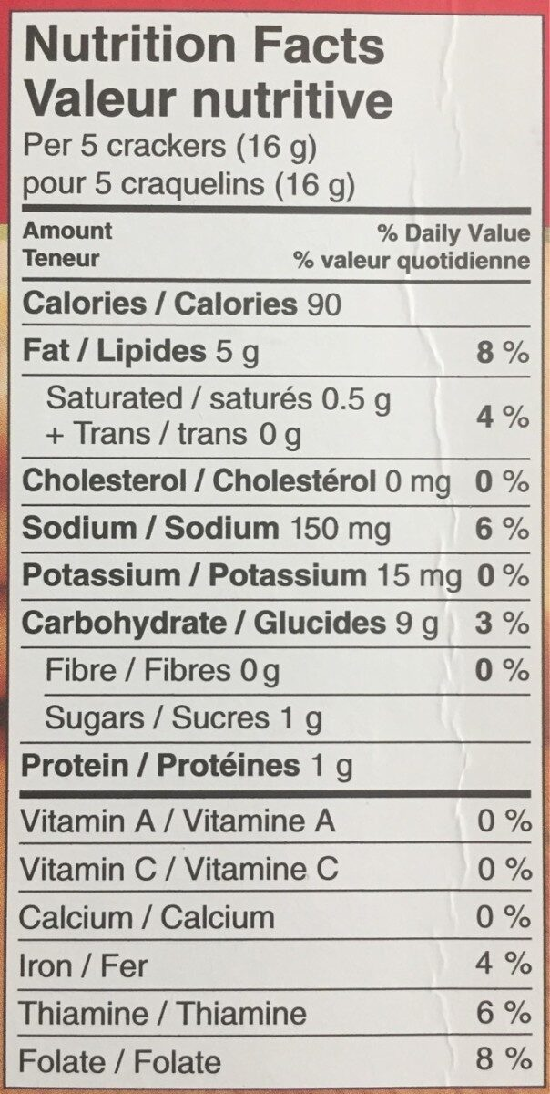 Town House Original - Nutrition facts - fr