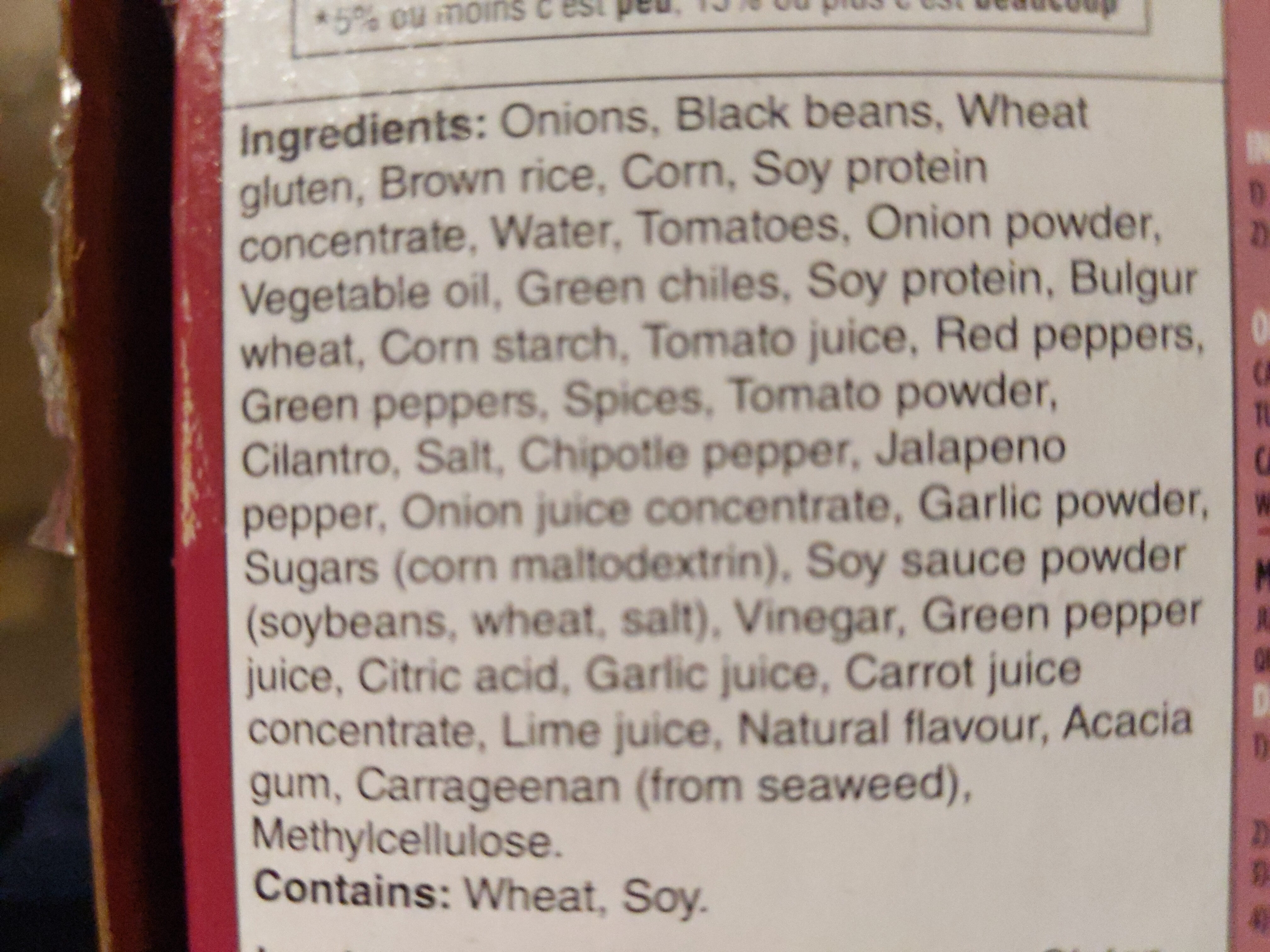 Chipotle Black Bean Burger - Ingredients - en