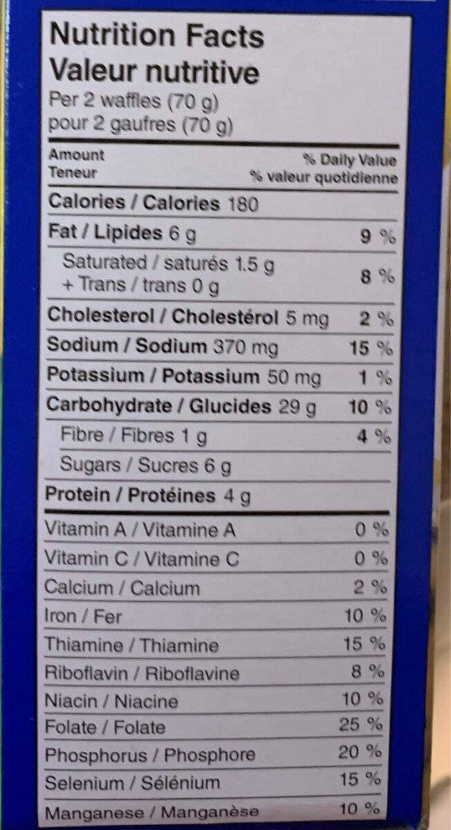 Eggo Blueberry Flavour - Nutrition facts - en