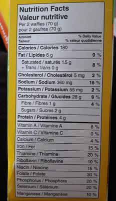 Eggo original - Informations nutritionnelles - fr
