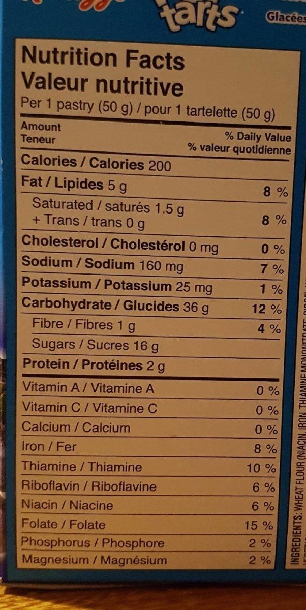 Pop-Tarts Glacées aux Bleuets - Nutrition facts