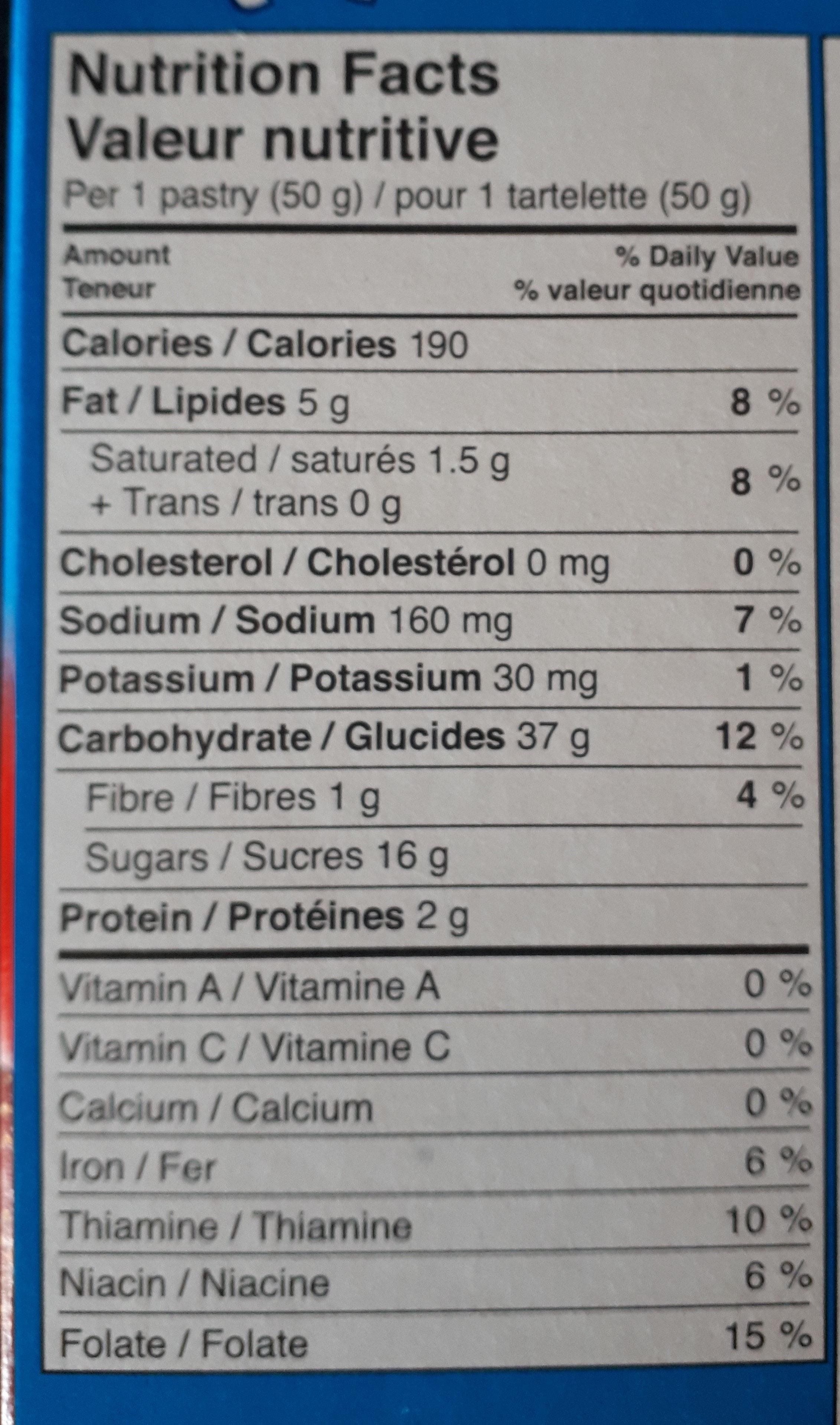 Tartelettes Pour Grille-pain Pop-tarts (glacées Aux Fraises ) - Informations nutritionnelles