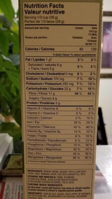 All bran buds jumbo pack - Nutrition facts - fr