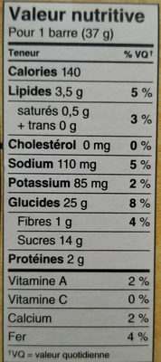 Kellogg's Nutri-grain Cereal Bar - Strawberry - Informations nutritionnelles - fr