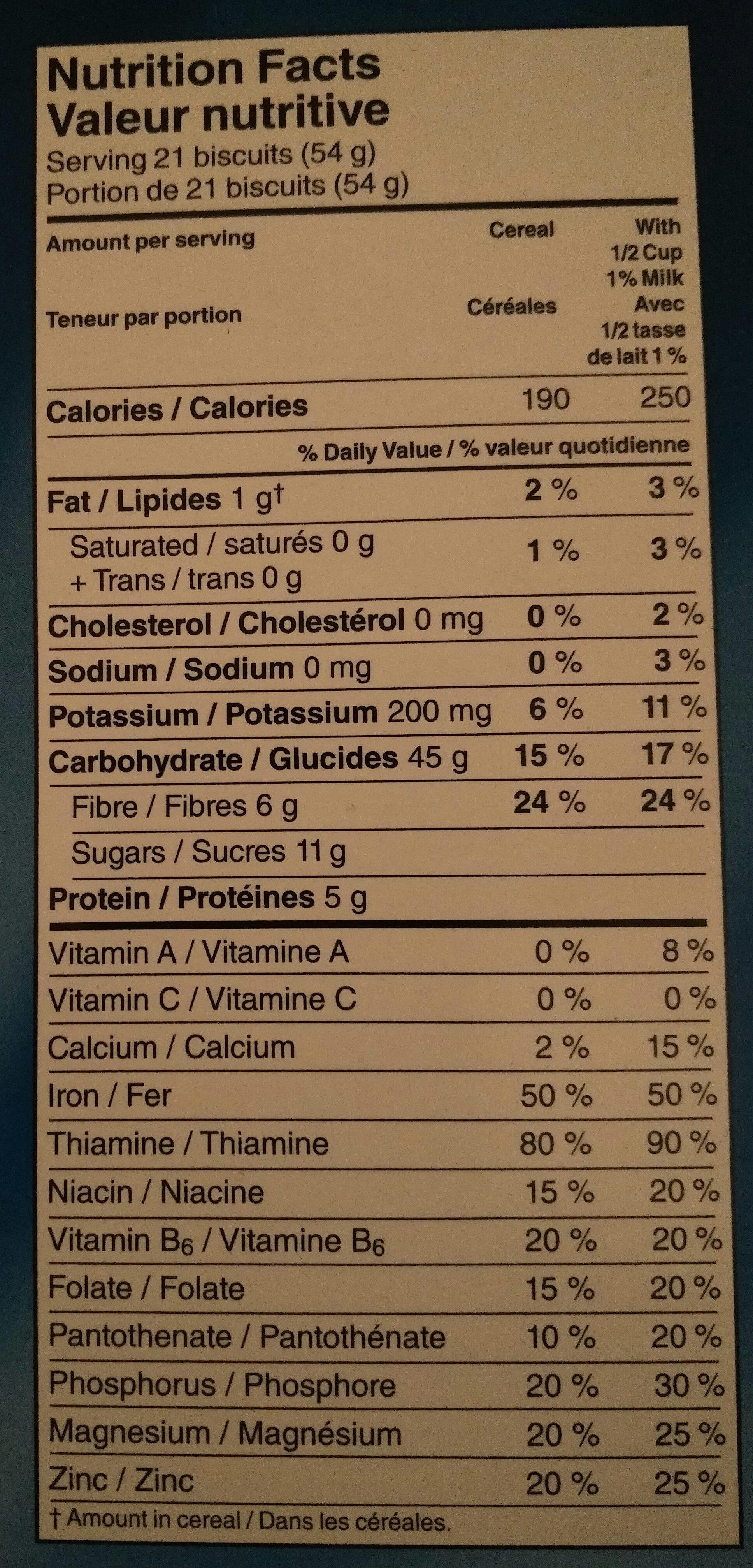 Mini-wheats - Informations nutritionnelles - fr
