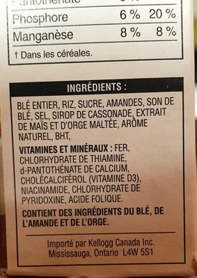 Special K Vanille et amandes - Ingrédients - fr