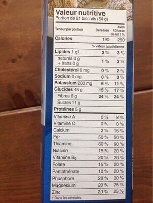 Céréales Mini-wheats originale - Nutrition facts - fr