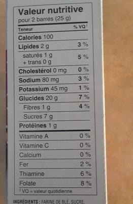barres croquantes au chocolat Spécial K - Nutrition facts - fr