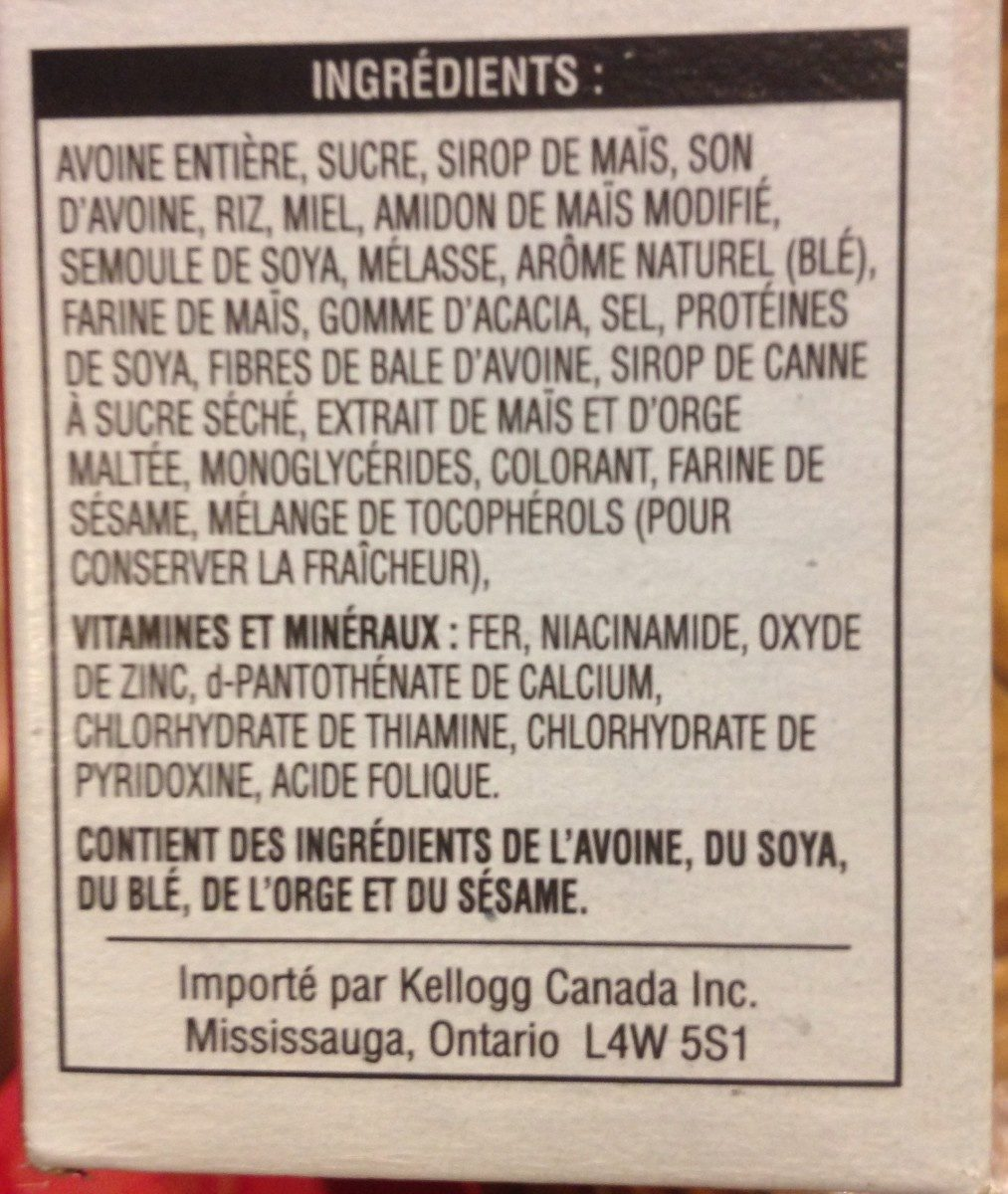 Kelloyy's Granola pauvre en gras - Ingredients - fr