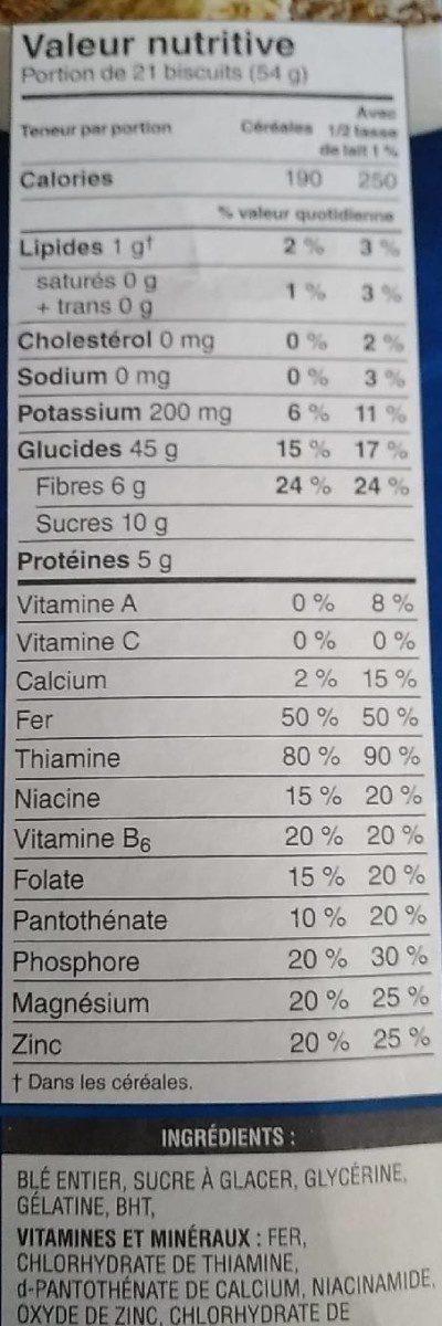 Céréales Mini-wheats (originales) - Informations nutritionnelles - fr