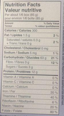 Spaghettini - Nutrition facts - fr