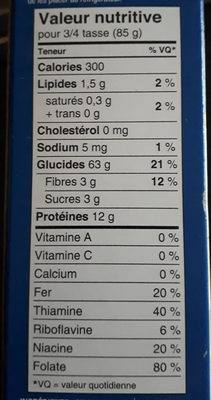 Macaroni Coupé - Nutrition facts