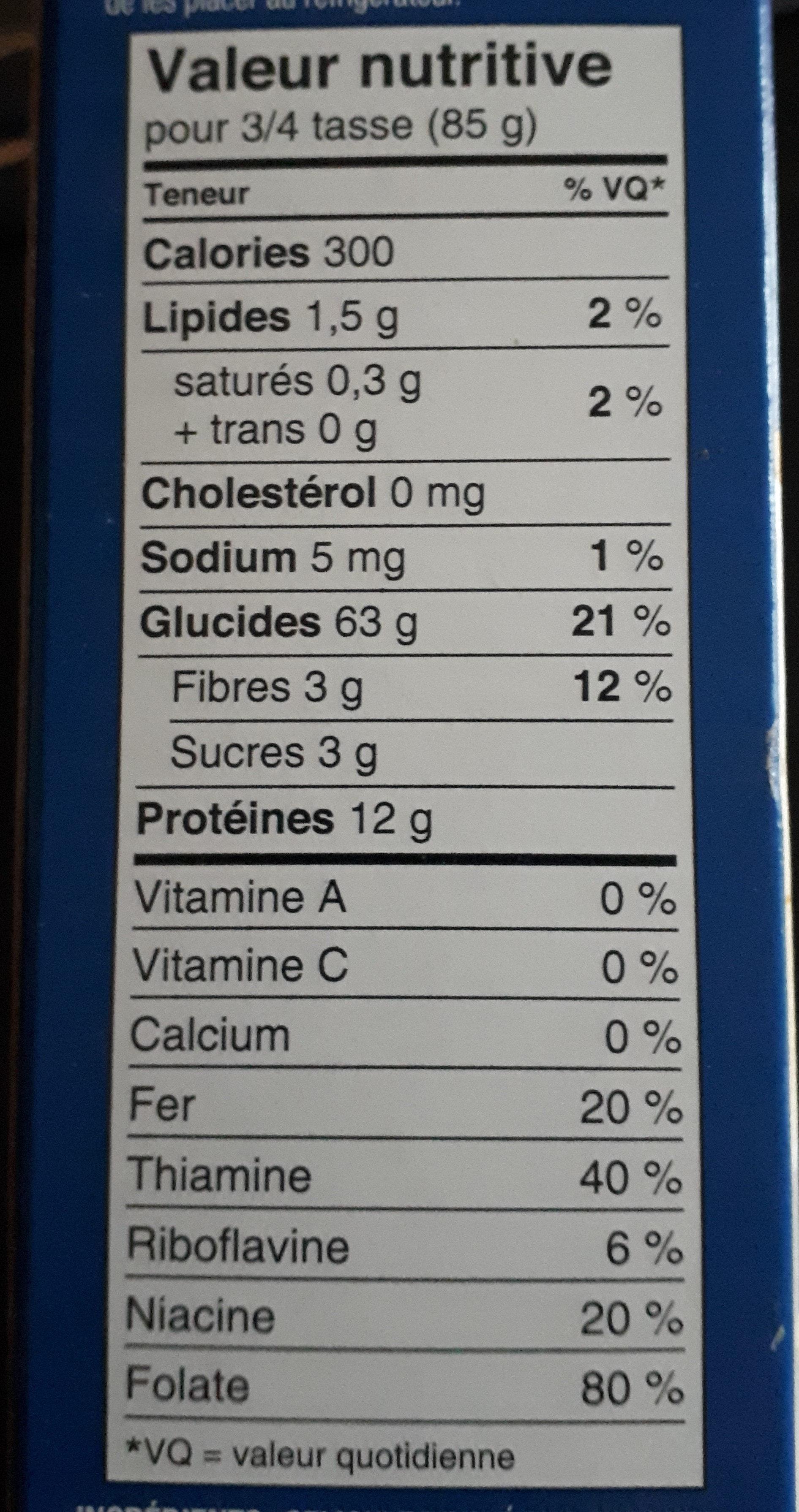 Macaroni Coupé - Informations nutritionnelles