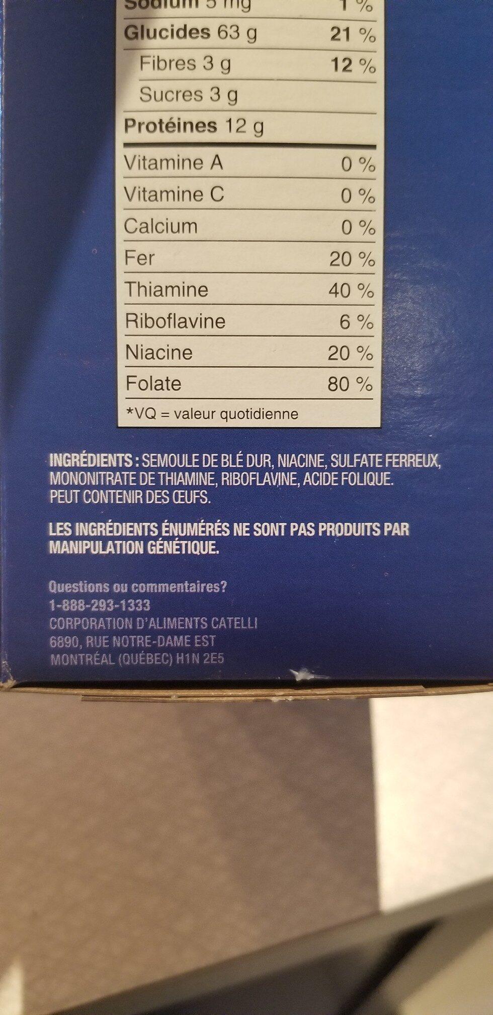 Rotini - Ingrédients - fr