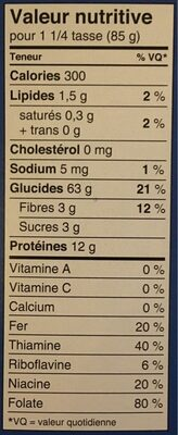 Rotini - Informations nutritionnelles - fr