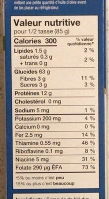 Orzo - Informations nutritionnelles - fr