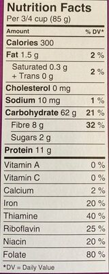 Macaroni smart - Informations nutritionnelles