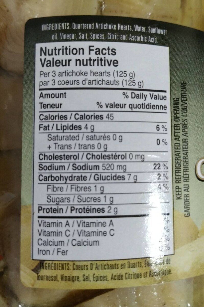 Corazón de alcachofa - Nutrition facts - es